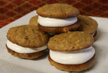 Brown Sugar Oatmeal Whoopie Pies with Maple Marshmallow Filling | Pork Cracklins