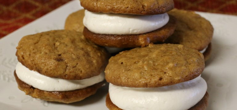 Brown Sugar Oatmeal Whoopie Pies with Maple Marshmallow Filling   Pork Cracklins