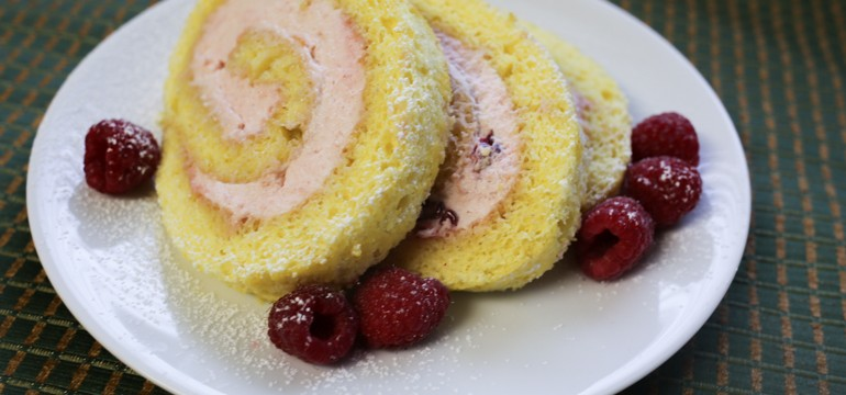 Light & Lemony Jelly Roll Cake with Raspberry Cream Filling | Pork Cracklins