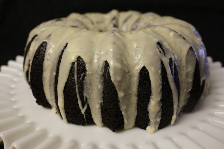 Dad's Black Cocoa Bundt with Butter Whiskey Glaze | Pork Cracklins