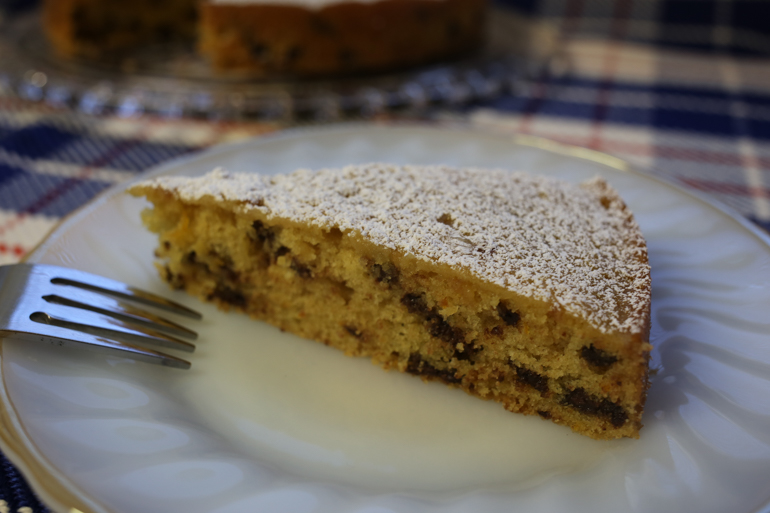 Orange Buttermilk Picnic Cake with Chocolate Chips   Pork Cracklins