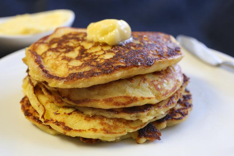 Orange Pancakes with Honey Butter | Pork Cracklins