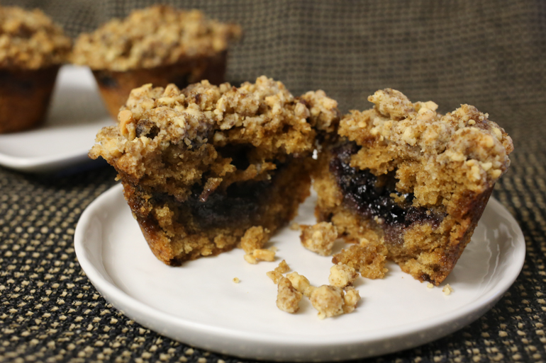 Peanut Butter and Jelly Crumb Morning Muffins | Pork Cracklins