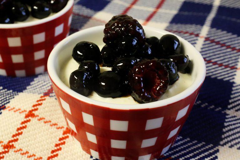 Honey-Vanilla Greek Yogurt Mousse with Sticky Balsamic Berries   Pork Cracklins