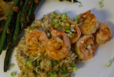 Two-Pepper Shrimp with Creamy Pecorino Grits | Pork Cracklins