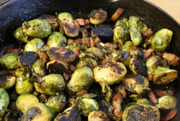 Charred Brussels Sprouts with Bacon & Dates | Pork Cracklins
