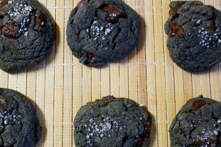 Salted Black Tahini Chocolate Chip Cookies | Pork Cracklins