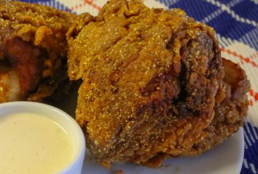 Cornmeal-Crusted Fried Chicken with White Barbecue Sauce | Pork Cracklins