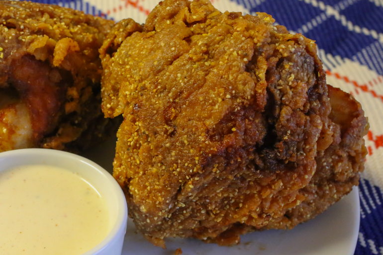 Cornmeal-Crusted Fried Chicken with White Barbecue Sauce   Pork Cracklins