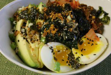 Sorghum and Kamut Bowl With Kale, Kimchi and Egg   Pork Cracklins