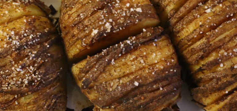 Hasselback Potatoes With Garlic-Paprika Oil | Pork Cracklins