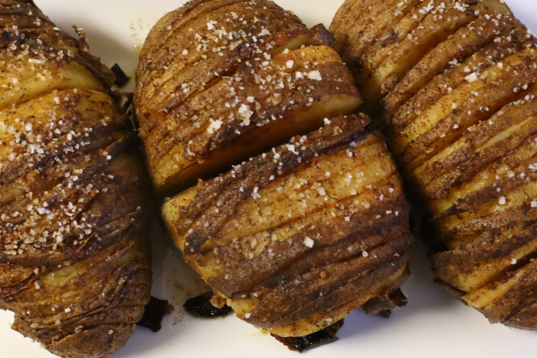 Hasselback Potatoes With Garlic-Paprika Oil | Pork Cracklins