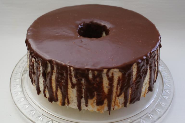Vanilla Bean Angel Food Cake with Milk Chocolate Glaze   Pork Cracklins