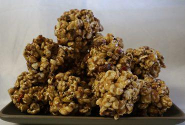 Caramel Candy Popcorn Balls | Pork Cracklins